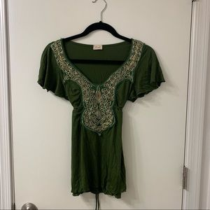 Lush olive green BOHO tunic top with sequins S